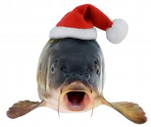carp in Santa Claus red hat